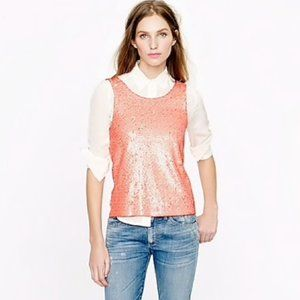 J. Crew Sequin Tank Top Heathered Coral XS